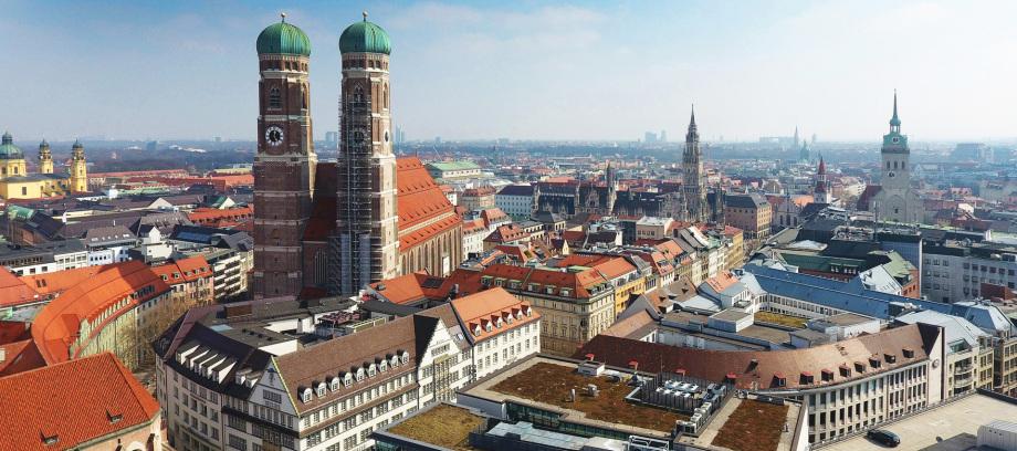 Luftbild der Altstadt von München